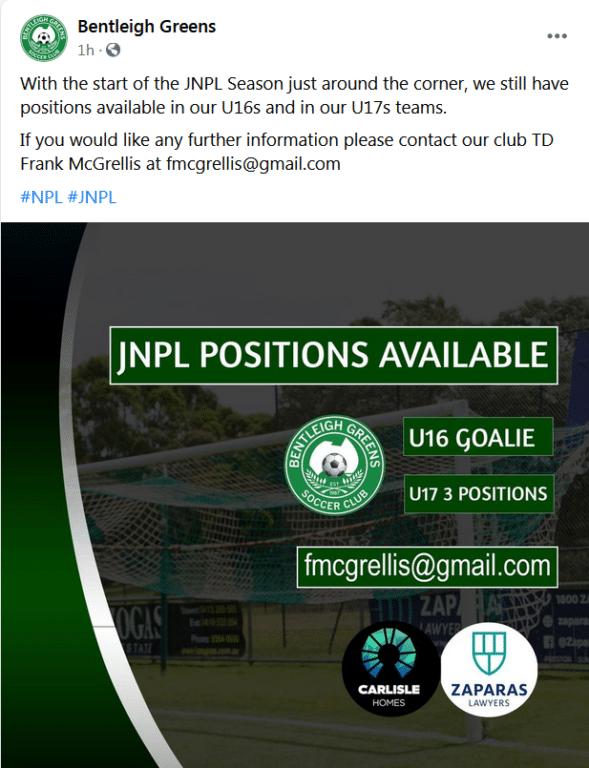 NPL Boys Vacancies